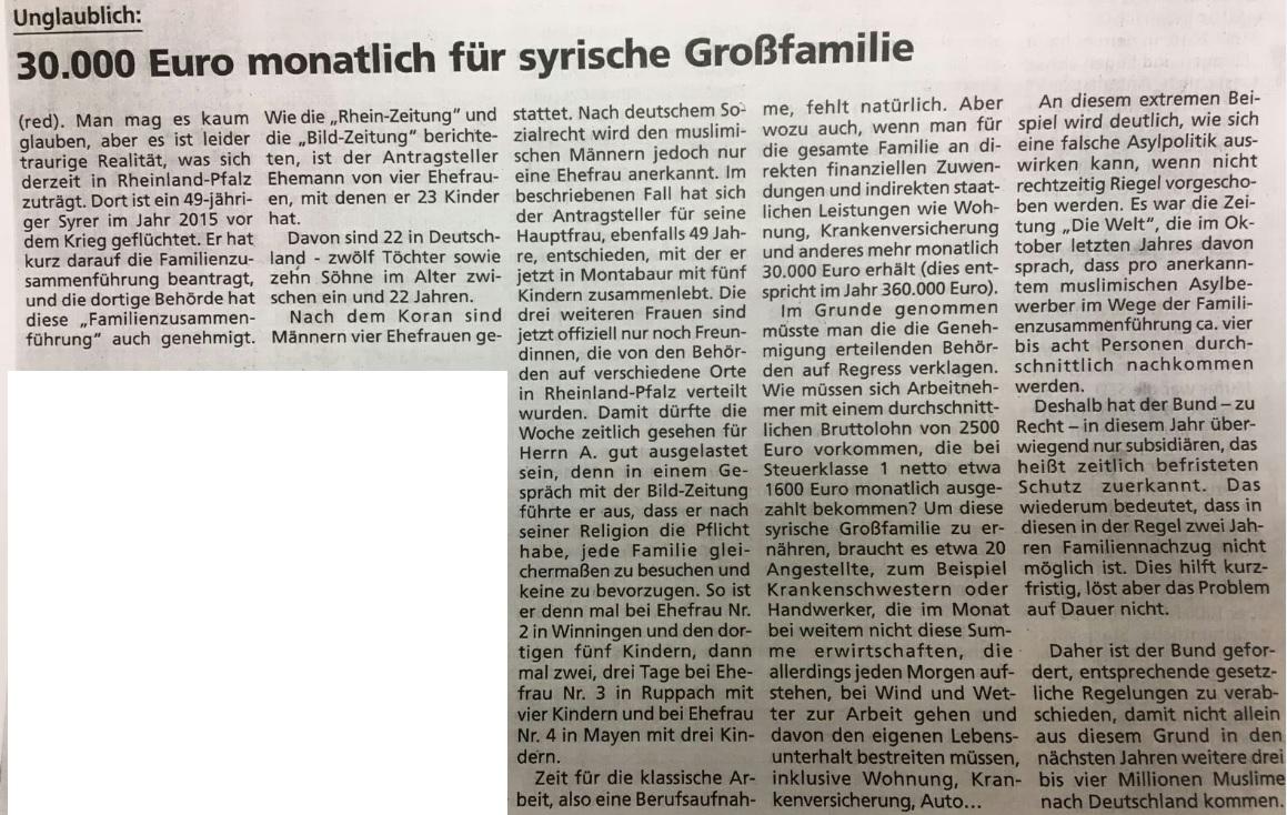 Syrische Großfamilie 30000 Euro